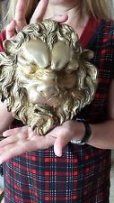 Antique Large Wall Mount Lion Head Bust Bronze Sculpture Figurine Figure