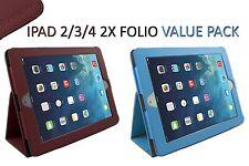 Apple iPad 2, iPad 3, iPad 3 Folder Folio Case Stand (iPad 2 3 4) 2x Value Pack