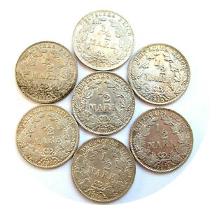 Deutsches Kaiserreich Lot von 7 x 1/2 Mark 1905-1918, Silber, Erhaltung