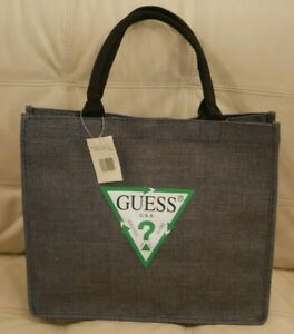 NEW WT NAVY BLUE JEAN GUESS CANVAS ECO TOTE GYM BAG BEACH BOOK BAG MEDIUM LARGE