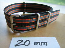 20mm Black Grey Orange Bond premium SEAT BELT Nylon Military Watch Strap G10 raf