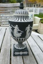 RARE Antique Wedgwood England Black Jasperware Basalt Dip Urn Vase Lid Woman