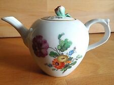 18TH CENTURY BERLIN PORCELAIN SMALL FLORAL HAND  PAINTED TEAPOT