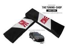 """2 X Almohadillas cubiertas de cinturón de seguridad de cuero negro """"estilo japonés Rising Sun"""" bordado"""