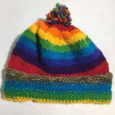 100% Wool Made In Nepal Multicoloured Rainbow Beanie Nice