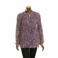 LAUREN RALPH LAUREN NEW Women's Paisley Tie-neck Pleated Blouse Shirt Top TEDO