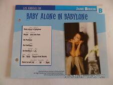CARTE FICHE PLAISIR DE CHANTER JANE BIRKIN BABY ALONE IN BABYLONE