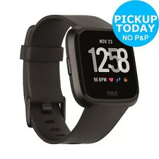 Fitbit Versa Activity Tracker Wrist Monitor Smart Watch - Black Aluminium
