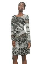 Desigual Long Sleeved Grey Stretchy Draped Rosaura Dress XS-XXL UK 8-18 RRP?94