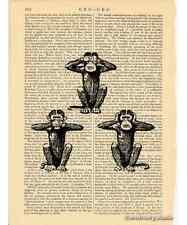 Three Wise Monkeys Art Print on Antique Book Page Vintage Illust Mystic Apes
