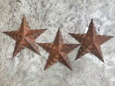 """Set of 3) 12"""" PUNCHED RUSTY BLACK BARN STARS 12"""" PRIMITIVE COUNTRY HOME DECOR"""