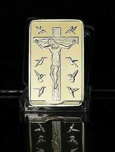 1 OZ UK GOLD PLATED BAR 10 COMMANDMENTS BIBLE HOLY CHRIST RELIGION EASTER JESUS