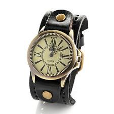 Reloj Pulsera cinturón para mujer correa ancha de estilo Negro Cuero Pulsera Números Romanos