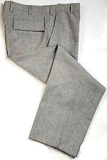 Ermenegildo Zegna Soft 34W Flannel Wool Flat Pants Dual Flap Pockets Gray 34x28