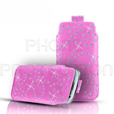 Diamante Bling Cuero tire Tab Funda Bolsa Para Varios Teléfonos Blackberry