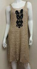 FREE PEOPLE Gold Knit Black Embroidered Studded GOLDEN SANDS Fringe Dress sz L
