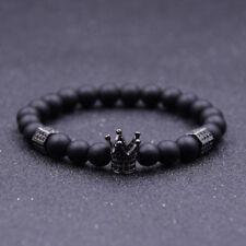 2020 Luxury Micro Pave CZ Ball Crown Charm Bracelet Men Jewelry Matte Agate Bead