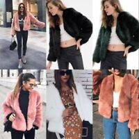 Womens Fluffy Faux Fur Lapel Jacket Cardigan Coat Tops Outwear Winter Warm Parka