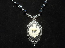 """ANTIQUE SILVER SCOTTISH THISTLE CAMEO NECKLACE 18"""""""