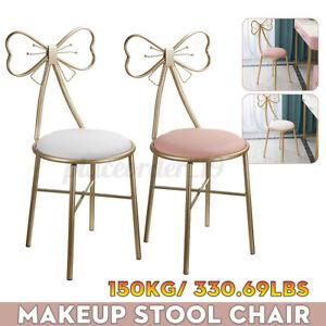 Dressing Stool Velvet Bedroom Makeup Vanity Chair Seat Bow Leather w/Backre ❀