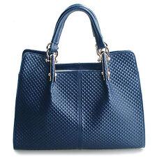 """Thompson Luxury Bags """"Melissa"""" Rhombus blau Leder-Tasche Handtasche UVP 198€"""