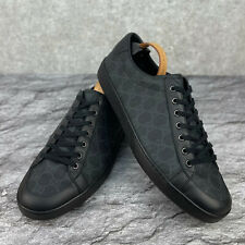 GUCCI Low Top Sneaker Black Leather Canvas GG Monogram 10 G - 11 US - 44 EU