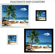 Set Glass Coasters & Placemats Black or Silver Tropical Beach Turquoise Sea Rock