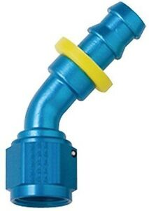 8 AN Push Lock Aluminum 45 Degree Hose Fitting Blue   Fragola 204508