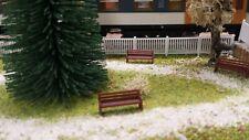 lot 10 bancs marrons parc 1/87 HO décor train diorama compatible FALLER maquette