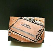 Printing Letterpress Printer Block Copper Plate On Wood Vintage Vacuum 1940s