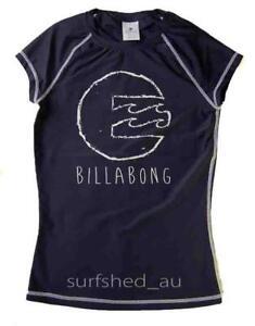 Billabong SURFDAY Womens Size 8 Rashie Rash Vest Swim Top Shirts New - Navy