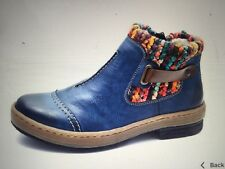 BNWT Rieker Wool Lined Ankle. Boots With Strap Detail Size 6 EU 39 Blue