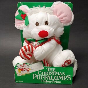 vtg 1988 Puffalumps white mouse Fisher Price MIB 80's plush toy new #8033 xmas