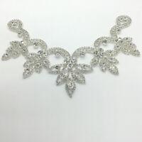 Crystal Rhinestone Applique Trims Iron on Bridal Dress Belt Head Piece V