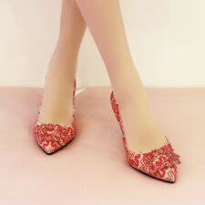 Women Chic New Stiletto Heels Pointy Toe Slip On Rhinestones Floral Pumps Shoes