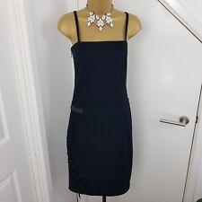 Gianfranco Ferre Dress Midi Strap Adjustable Lace Up Striped Black Size 40 UK 6