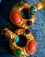 Rare Vtg KJL Kenneth Jay Lane Mogul Statement Pierced Earrings Gold Plated