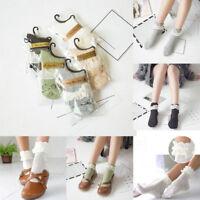 Women Ladies Retro Lace Ruffle Frilly Ankle Sock Cotton Socks Christmas warm