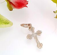 Vintage 9 Ct Rose Gold Cross Pendant - Diamond Cut