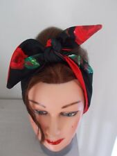 HEAD SCARF HAIR BAND RED BLACK ROSE FLOWER  NECK TIE ROCKABILLY PIN UP GLAMOUR