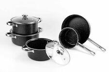 8pc Kohlenstoffstahl Antihaft Kochen Kochgeschirr Set Kochtopf Braten Milch Pfanne Marmor