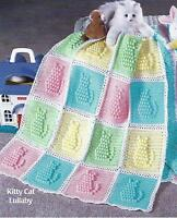 """Baby Blanket Crochet Pattern  Afghan Cover """"Kitty Cat Lullaby""""  120"""