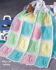 "Baby Blanket Crochet Pattern  Afghan Cover ""Kitty Cat Lullaby""  120"