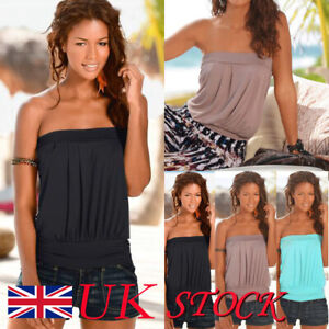 Womens Strapless Boob Bandeau Tube Tops Ladies Summer Ruffle Blouse T-Shirt
