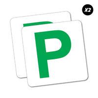2X Green P Plate Probationary Sticker Aussie Car Flag 4x4 Funny Ute #5968EN