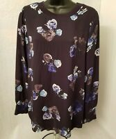 Thakoon Womens Blue White Gray Floral Semi Sheer Shirt Top Blouse Size M
