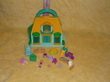 Polly Pockets Blue Box House and Accessories Lot: Girl Doll, Kitchen, Slide, etc