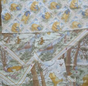 "Classic Winnie the Pooh (3) Curtain Panels 63"" long + 14"" Valance w/ Rod Pocket"