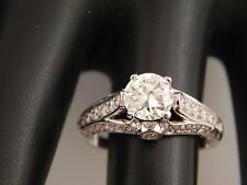 European Cut Diamond Engagement Ring 1.90 tcw J/VVS ART DECO 18k WG Great Make