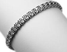 """925 Sterling Silver S Shape Double Accent  Cubic Zirconia Tennis Bracelet 6.5"""""""